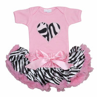 New Born Baby Clothes- Baby Pettiskirt- Newborn Baby Petti Skirt- Baby Gifts-Zebra Heart Tutu Set