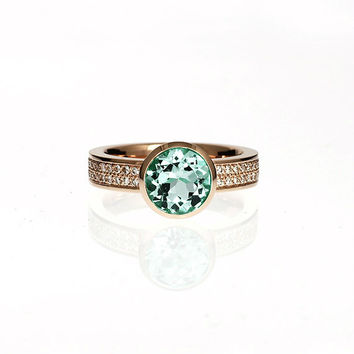 2.52ct Light green tourmaline engagement ring, rose gold, white gold, diamond ring, tourmaline, mint green, bezel,  tourmaline solitaire