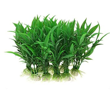 Behokic 10 PCS Plastic Artificial Green Grass Underwater Simulation Plastic Aquarium Plant for Fish Tank Decoration Ornament
