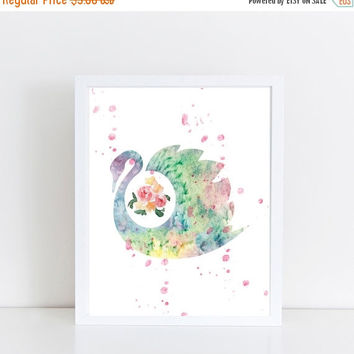 Swan Printable Art, Watercolor, Kids Wall Decor, Kids Art, Kids Prints, Baby Shower Gift, Instant Download Printable Art, Nursery Room Art