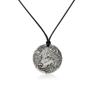2017 Antique Wolf Fox Pendant Necklace High Quality Alloy Printe Wolf Fox Charms Black Leather Rope Pendant Jewelry for Men Gift