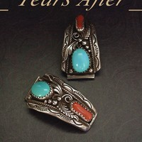 SIGNED Vintage NATIVE American WATCH Band Tips Navajo Turquoise Coral Sterling Silver by D. Smith c.1980's!