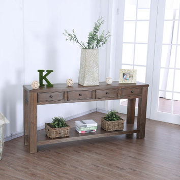 Furniture of america CM4327A-S Meadow oak finish wood plank style sofa table