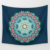 Teal Mandala Flower Wall Tapestry,  dark complex geometric mandala,  dorm, apartment, boho