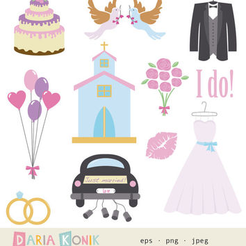 Wedding Clip Art Set- instant download, dress, suit, church, doves, rings, car, cake, just married, balloons, romantic, vector, png, jpeg