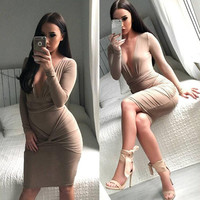 Long Sleeve Women's Fashion Sexy V-neck One Piece Dress [8077547457]