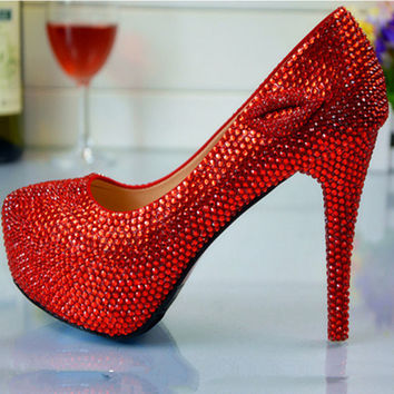 Fashion Elegant Women Pumps rhinestone crystal red high-heeled shoes women Crystal Wedding red bridal shoes, Free Shipping!