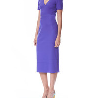 Carolina Herrera Short-Sleeve V-Neck Sheath Dress