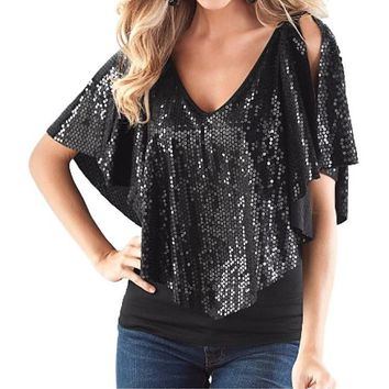 [13509] V Neck Sequin Shawl Top