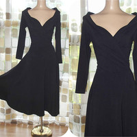 Vintage 80s Black Dress | 1980s Full Sweep Dress | Long Sleeve Portrait Neckline | Stretchy & Sexy | Classic Tea Length | MODA Size Medium