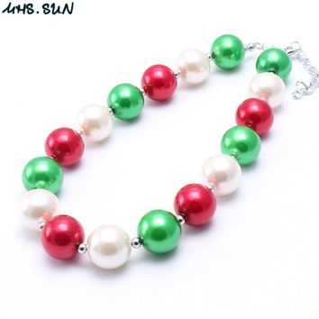 MHS.SUN Big Green/White/Red Acrylic beads DIY jewelry Child Chunky beads necklace Christmas style for Lovely kids