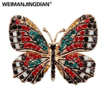 WEIMANJINGDIAN Multi-Color Pave Setting Crystal Rhinestones Butterfly Brooch Pins for Women in 13 Assorted Colors