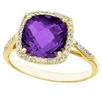Cushion-Cut Amethyst and Diamond Cocktail Ring 14k Yellow Gold (3.70ct)