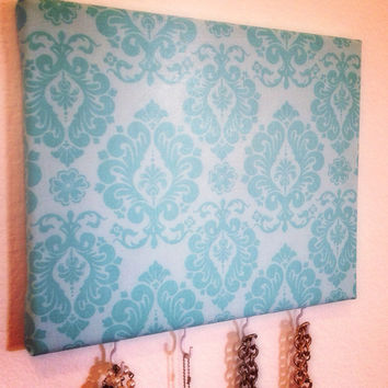 Aqua damask print Jewelry Holder Ready To Ship