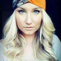 Orange and Realtree camo twist headband
