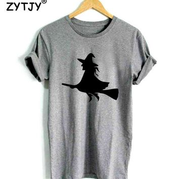 Witch On a Broom Print Women tshirt Cotton Casual Funny t shirt For Lady Girl Top Tee Hipster Tumblr Drop Ship Z-1167