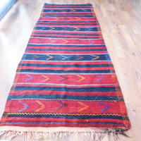 Turkish kilim- Rug Carpet.- handwoven kilim rug - antique kilim rug - natural wool, handwoven old carpets.