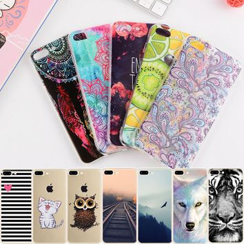GerTong Painting TPU Phone Cover for iPhone 7 Case Cartoon Animal Flower Protective Shell for iPhone 7 6 6S 8 Plus X 5 5S SE 4 S