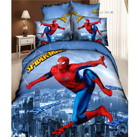 4/3Pcs 100% Cotton Cartoon Amine Twin Queen King Size Superman Spiderman 3D Bedding set For Kids Boys Comforter cover Bed Sheet