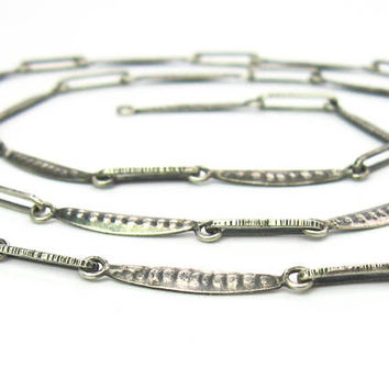 Pea Pod Chain Necklace. ORNO Poland 800 Silver Links. Slender, Hammered, Engraved. Artisan Cooperative. Vintage 1960s Handmade Jewelry