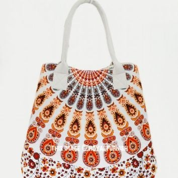 Orange  White Medallion Circle Cotton Beach Tote Bag for Women on RoyalFurnish.com