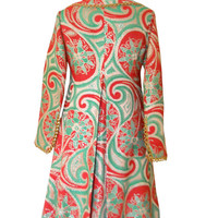 Vintage Oscar de la Renta 60s Coat Dress Paisley Coat Brocade Coat Designer Clothing 1960s Coat Red Green Coat 60s Clothing Ladies Coat