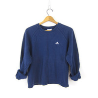 Adidas Sweatshirt Cropped Pullover Basic Blue & White Cotton Sweater Sporty Athletic Shirt Boxy Crop Top Women's size Medium