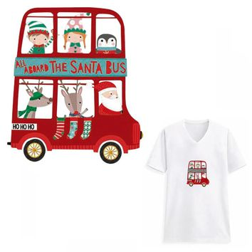 Christmas Santa Bus Patches for Clothing Gift Helicopter Ironing Transfer DIY Appliques Xmas Festival Patch Stickers Parches