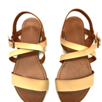 Adrienne Beige Strapped Summer Sandals with Buckle