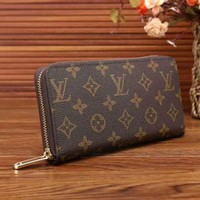 Louis Vuitton LV Women Zipper Leather Wallet Purse