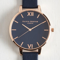 Menswear Inspired Classic Company Watch in Rose Gold, Navy by Olivia Burton from ModCloth