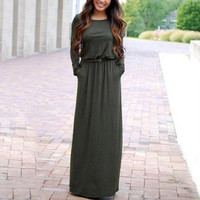 Long Sleeve Maxi Dress With Pocket   12295