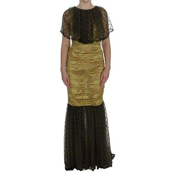 Dolce & Gabbana Yellow Black Floral Lace Ricamo Gown Dress