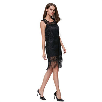 Fashion Women Charm Lace Hollow Fringed Elegant Lady Sexy Slim Cocktail Black Dress Casual Mini Dresses High Quality