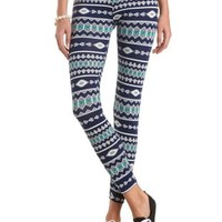 Cotton Tribal Printed Leggings by Charlotte Russe - Blue Combo