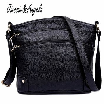 Jiessie & Angela Fashion New Leather Bag For Women Handbags Famous Brands Bag Fashion Handbags Women Messenger Bag Sac a main