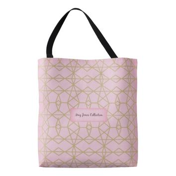 Pink With Geo Pattern Tote Bag