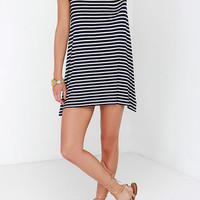 Black White Short Sleeve Striped Loose Dress -SheIn(Sheinside)