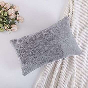 """Home Brilliant Plush Mongolian Faux Fur/Deluxe Suede Fluffy Sheepskin Oblong Regtangular Accent Throw Pillow Case Cushion Cover for Bed, 1 Pc, 12""""x20"""", Grey"""