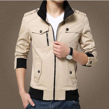 Elegant Color Accent Cotton Military Jacket
