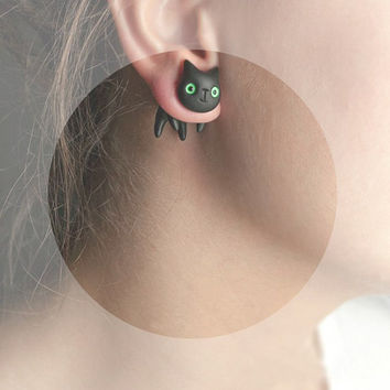 Black Cat -  black green autumn Halloween - hand painted polymer clay one stud earring rusteam