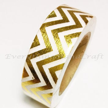 Washi Tape / Decorative Masking Tape / Japan Sticky Adhesive Tape Chevron Gold Foil / Scrapbooking Tools Favor Stationery 10m g10