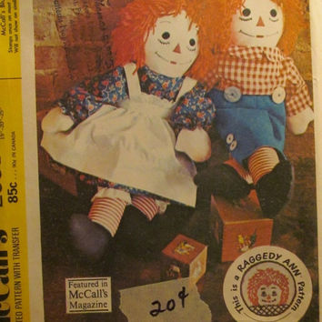 SALE Uncut 1970's McCall's Sewing Pattern, 2531! Raggedy Ann and Andy Stuffed Dolls/Doll Clothes/Panties/Aprons/Sailor hats/Caps/Jumper/Jump
