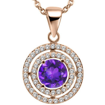 1.34 Ct Round Purple Amethyst 18K Rose Gold Plated Silver Pendant