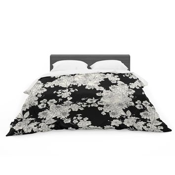 "Victoria Krupp ""Black And White Floral"" Black White Floral Pattern Digital Illustration Featherweight Duvet Cover"