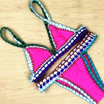 Sexy Handmade Crochet Bikini Swimsuit Brazilian Bikini Crochet Swimwear Bathing Suit