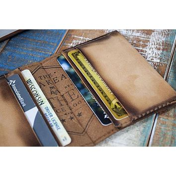4-Slot Front Pocket Card Sleeve Wallet - The Dip (Burnt Timber Leather)