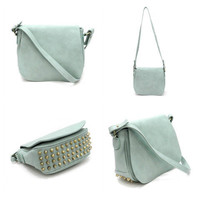 Pree Brulee - Gloriously Studded Sage Green Crossbody Handbag