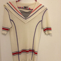 70s Sailor Top Nautical Knit Vintage Sweater Blue Red Striped Acrylic XS