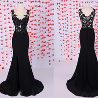 Sexy black mermaid prom dresses with high slit,On the bodice is black applique on nude mesh,Black formal evening party dresses gowns